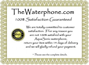 AquaSonic waterphone guarantee certificate